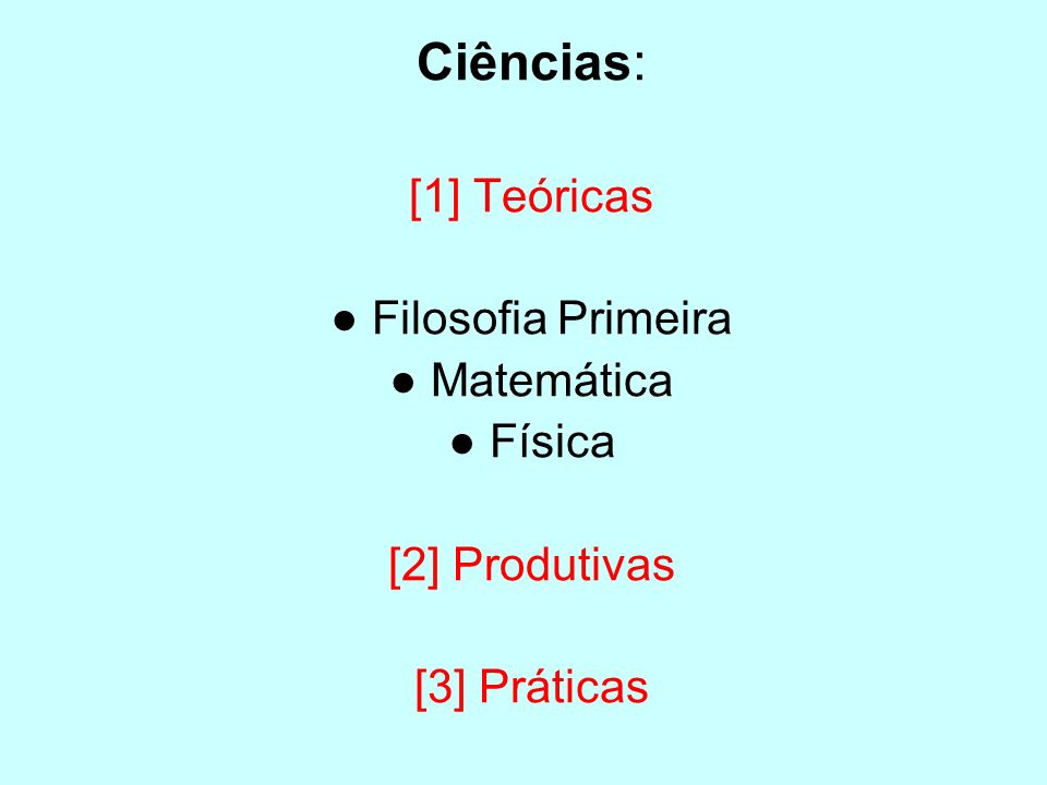 Ciências: [1] Teóricas ● Filosofia Primeira ● Matemática ● Física